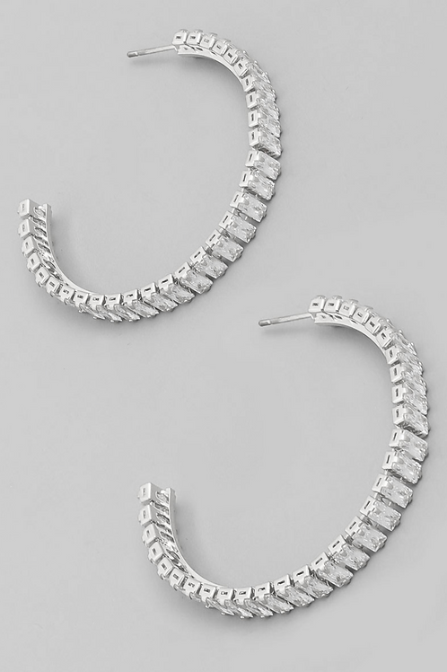 Baguette Hoop Earrings - Silver
