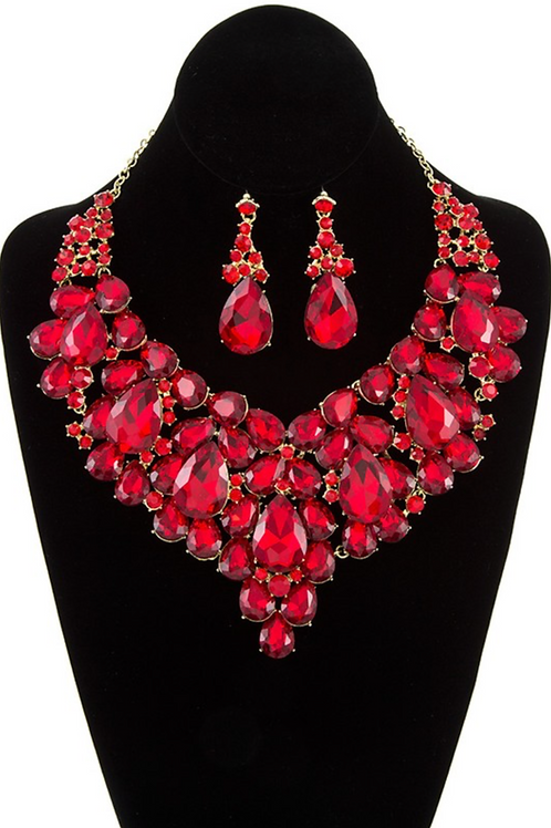Evelyn Statement Jewelry Set - Red