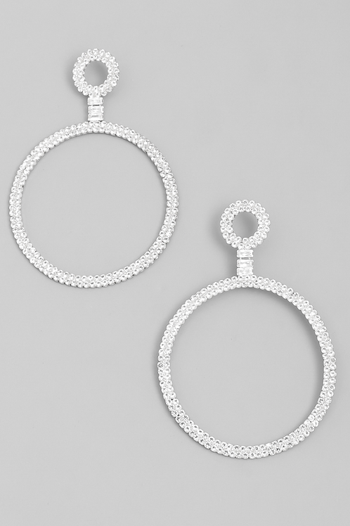 Studded Circle Hoop Drop Earrings
