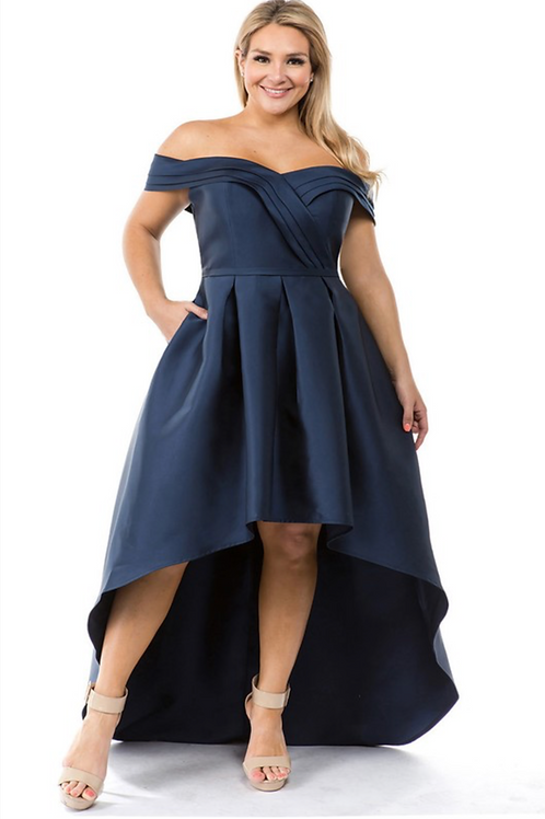 Paige Woven Dress - Navy
