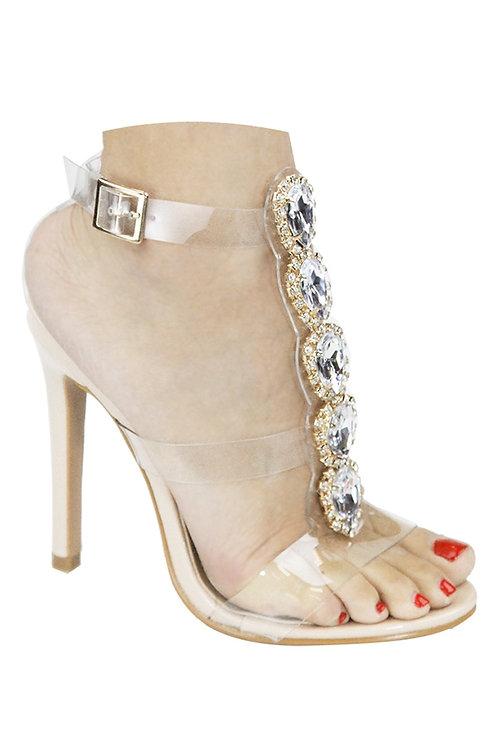 Jenna Nude Embellished Heels