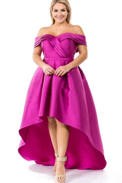 Paige Woven Dress - Magenta