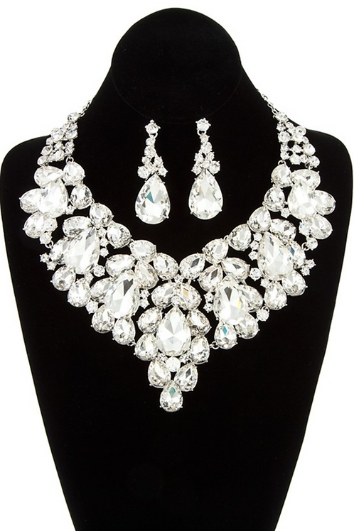 Evelyn Statement Jewelry Set - Silver