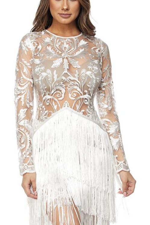 Lace Fringe Mini Dress