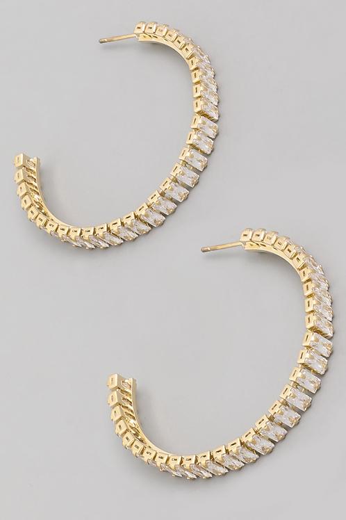 Baguette Hoop Earrings - Gold