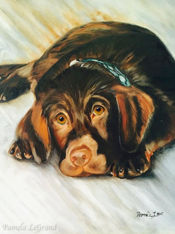 Custom painting of Chocolate Lab created by Malibu Artist Pamela LeGrand