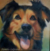 Custom commissioned dog portrait created by local Malibu Artist Pamela LeGrand