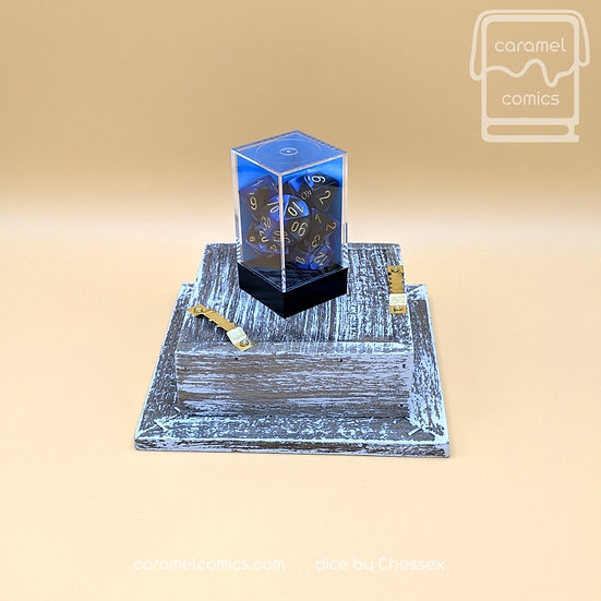 Dice - Black and Blue with Gold