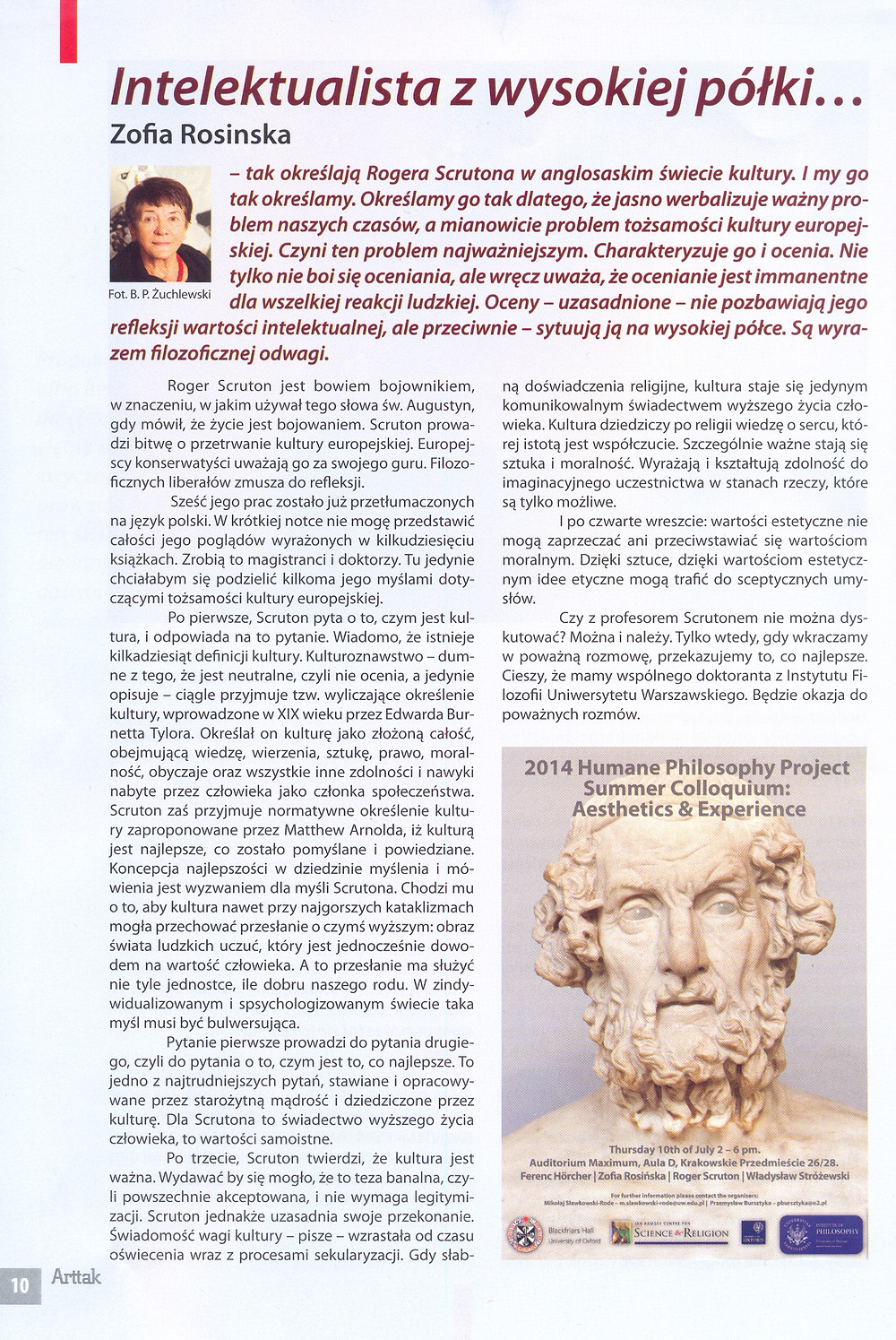 A short article by Zofia Rosinska, professor of philosophy involved with the Humane Philosophy Project at Warsaw University.
