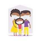 печать-african-american-family-face-masks-covid-conceptual-vector-illustration-protection-