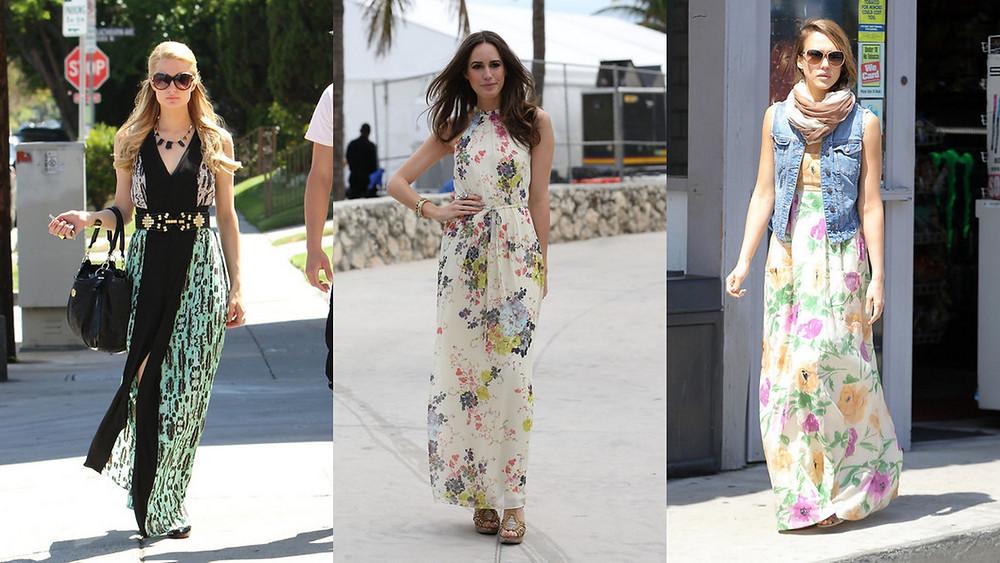 Celebrity ladies wear summer maxi dresses