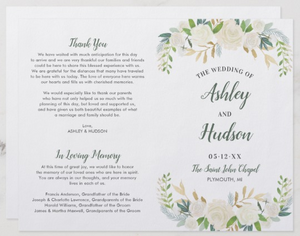 Wedding Program with In Loving Memory section