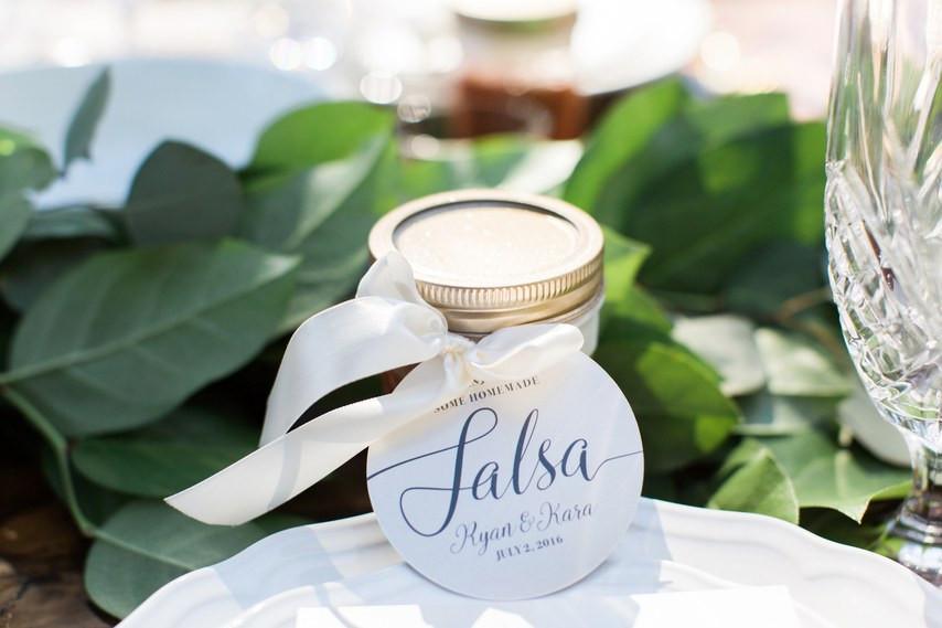 Salsa jar wedding favor