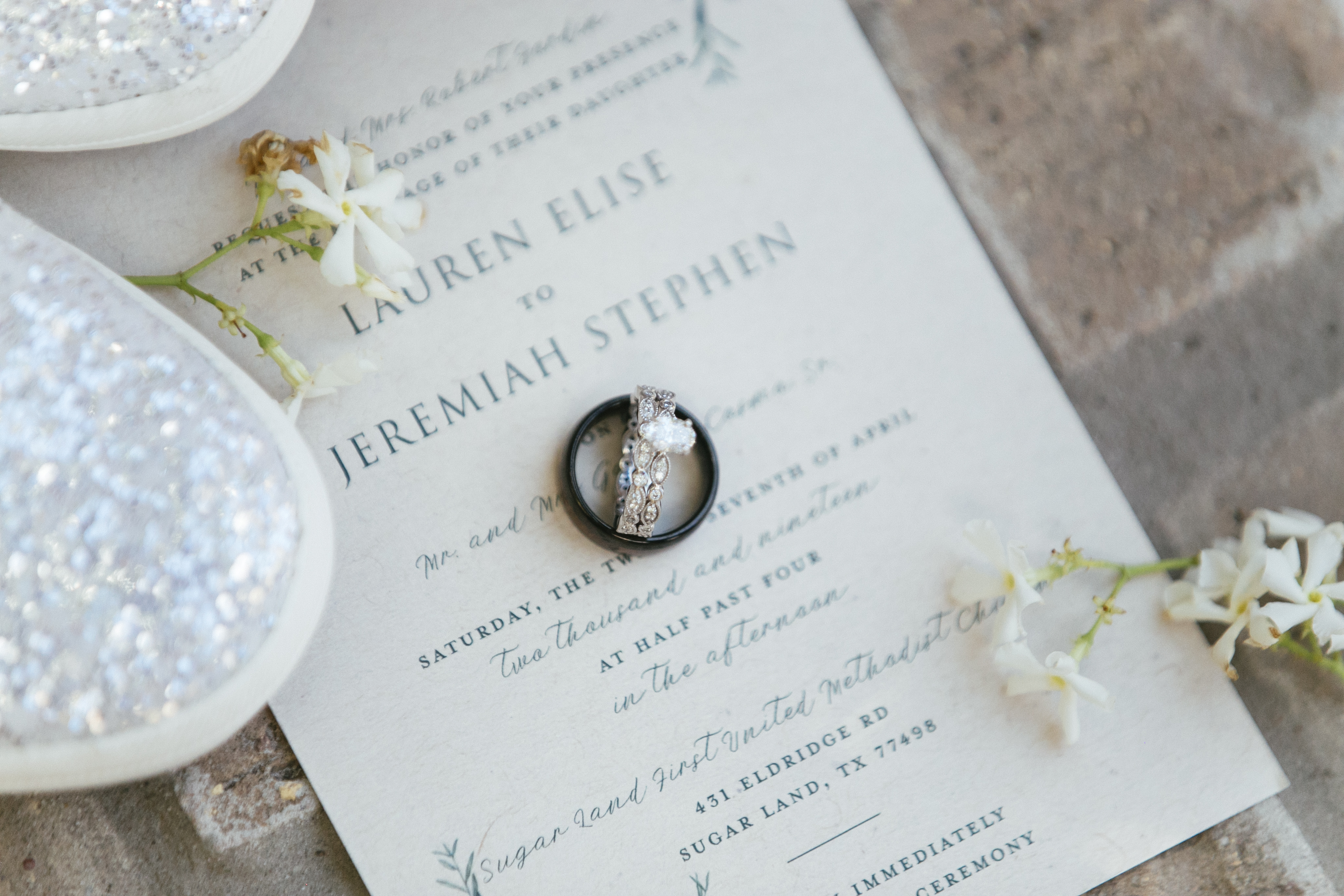 Wedding invitation & engagement ring