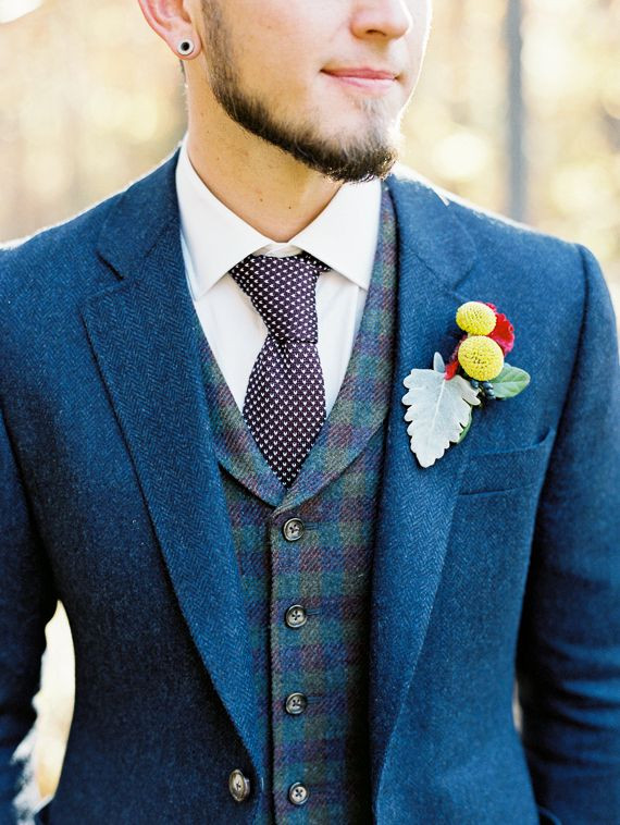 Vintage inspired wedding grooms attire