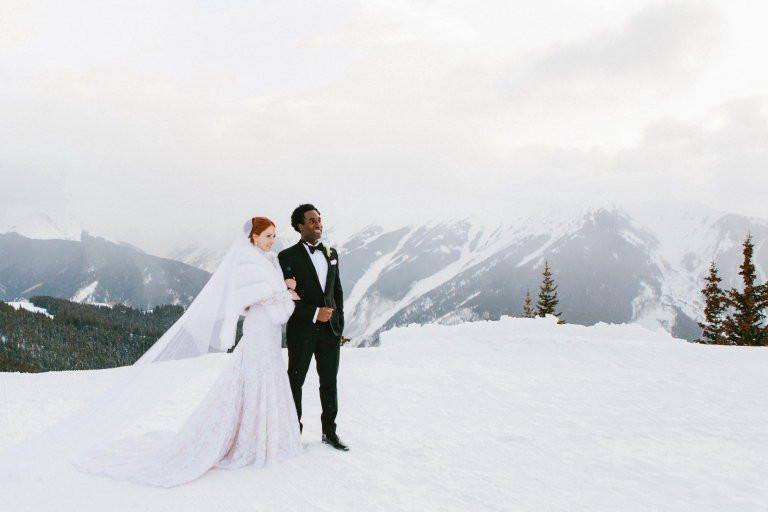 Snowy winter mountaintop wedding