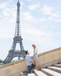 Wedding proposal near Eiffel Tower