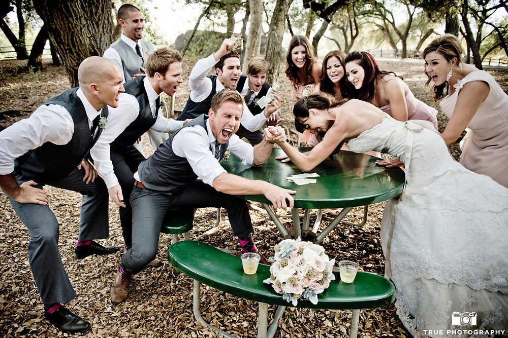 Wedding Party arm wrestling