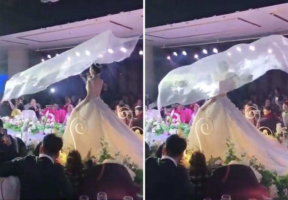 Flying wedding veil