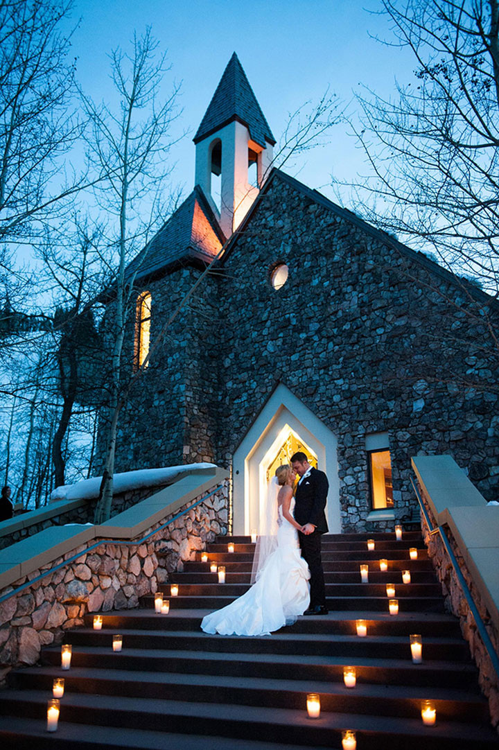 Winter wedding candle staircase