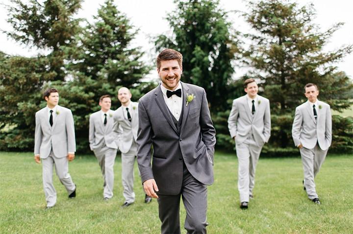 Groom and groomsmen in grey suits