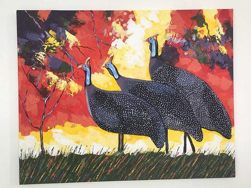 Original Artwork - Three Guineafowl by Brian Mandizira