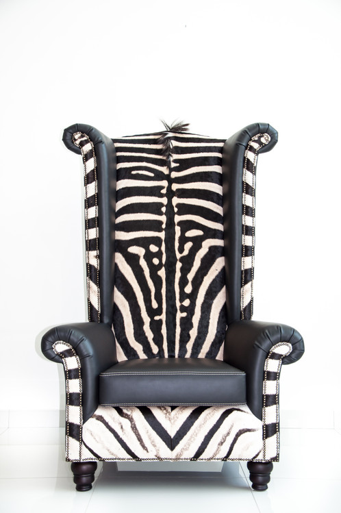 Our Flagship Piece In This Collection, The Wing Back Chair Has A Red  Beechwood Frame And Is Then Upholstered By Hand In Genuine A Grade Zebra  Gameskin And ...