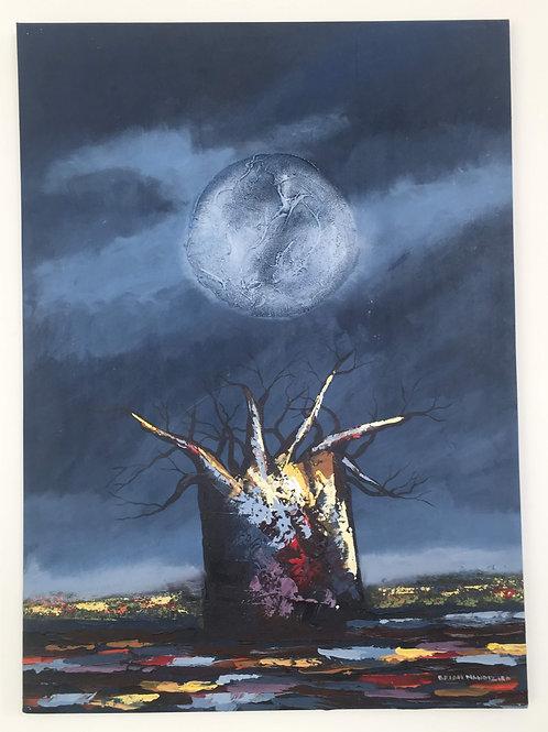 Original Artwork - Baobab Moonrise Winter by Brian Mandizira