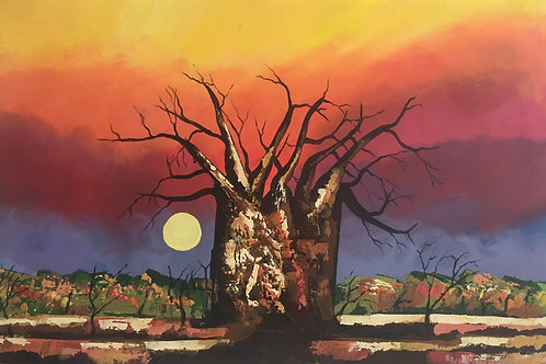 Original Artwork - Baobab Moonrise by BrianMandizira