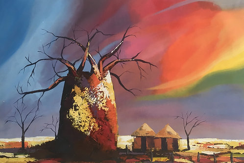 Original Artwork - Baobab & Huts by BrianMandizira