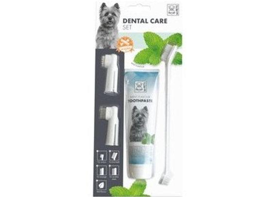 סט משחה + מברשת + שני אצבעונים לשיניים על מנת לשמור על ריח פה רענן