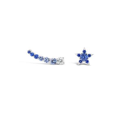 Blue sapphires & diamond star earrings