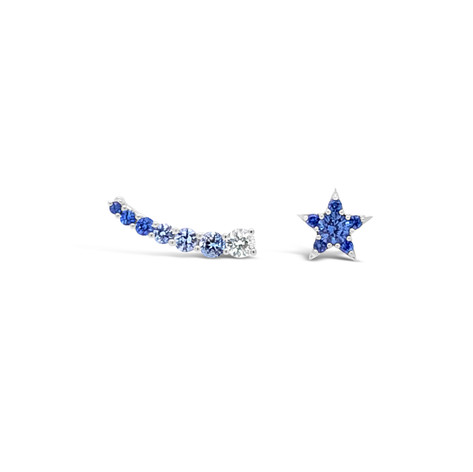 Blue sapphires & diamond star earrings