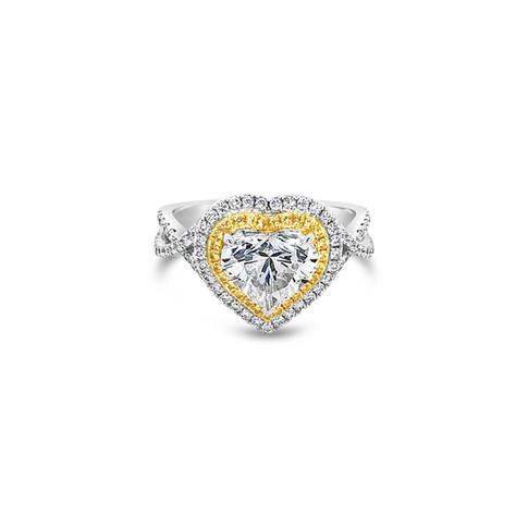 Heart Brilliant Diamond & Yellow Sapphires Ring