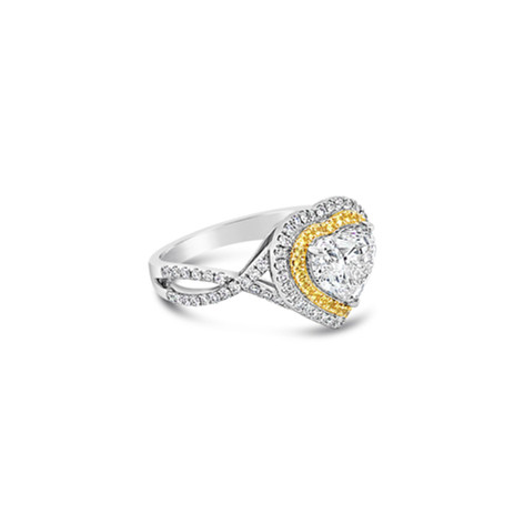 Heart Brilliant Diamond & Yellow Sapphires Ring