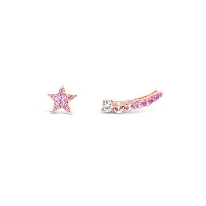 Pink sapphires & diamond star earrings
