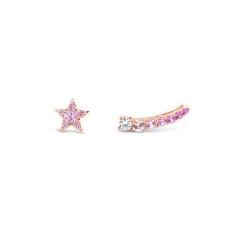 Pink sapphires & diamond star earrings