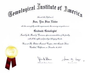 GIA Graduate Gemologist Certificate