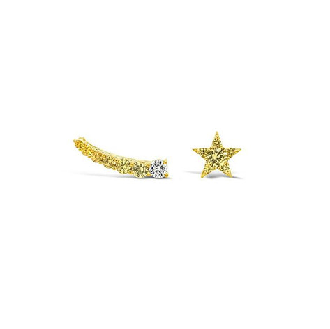 Yellow sapphires & diamond star earrings