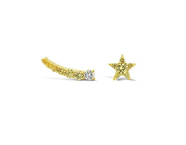 Yellow sapphires & diamond star earrings