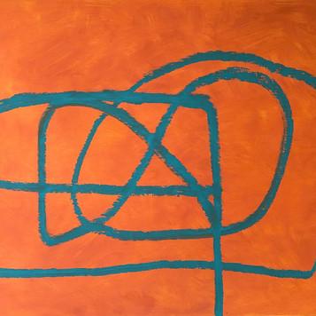 Orange with turquoise.