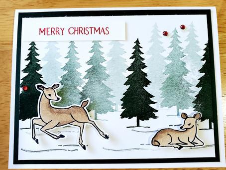 Quick Christmas Card using Peaceful Deer!