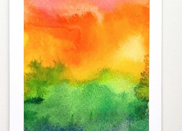Rainbow Sunset Watercolour Card