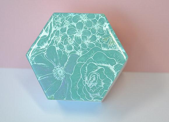 Teal Foiled Hexagonal Trinket Box