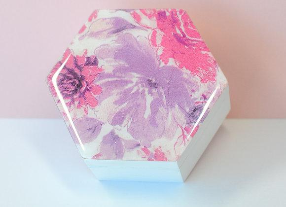 Fuchsia Floral Hexagonal Trinket Box