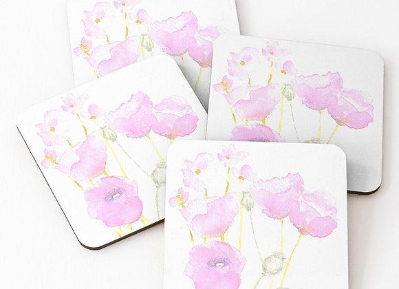 Pink Poppy Coasters - Set of 4