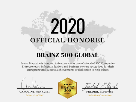 Brainz Magazine Global Honoree 2020