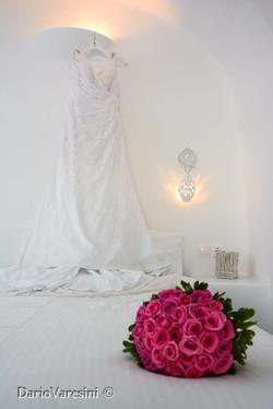 Wedding dress and flowers