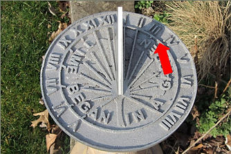Photo showing how to read a sundial.
