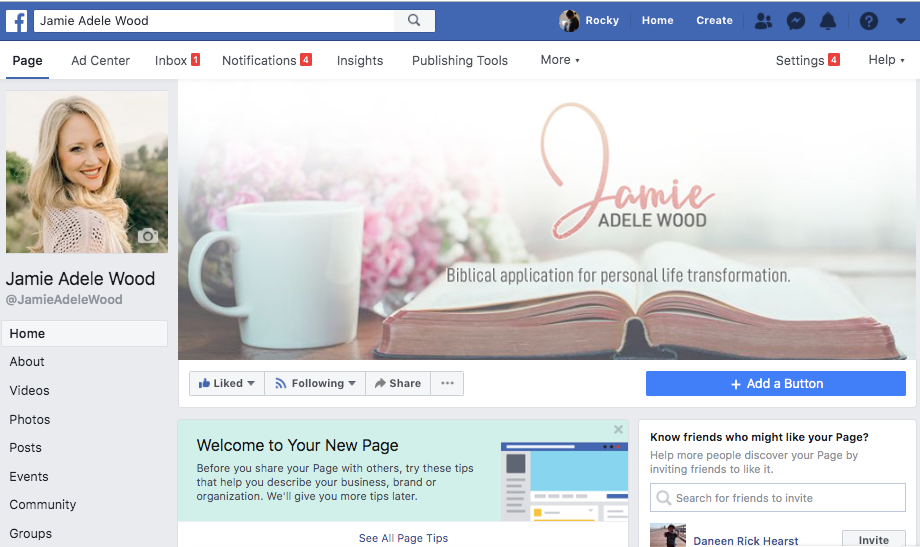Jamie's social platforms branded by RockyBush.com
